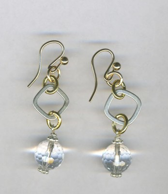 Sterilng & Vermeil earrings with crystal briolets