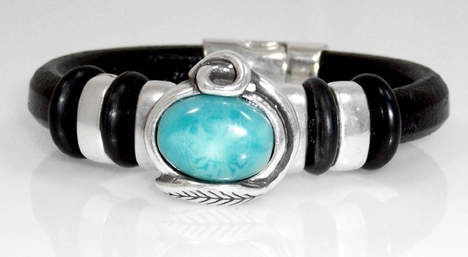 Black leather bracelet w/turq. resin finding