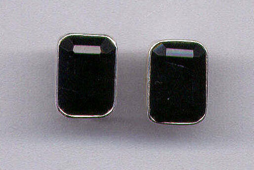 Black Onyx & Sterling Silver Gemstone Earrings