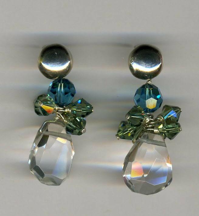 Blue, Green & Clear Crystal Earrings