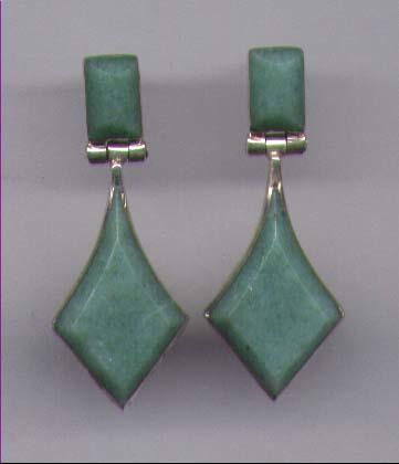 Aventurine Gemstone Earrings Set In Sterling Silver