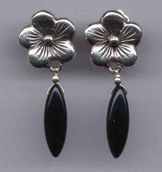 Black Onyx Gemstone Earrings With Sterling Silver Flowers, Clip Back