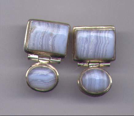 Blue Lace Agate Gemstone Earrings