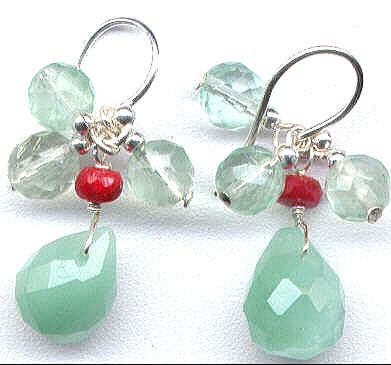 Chalcedony, Ruby, Fluorite Gemstone Earrings