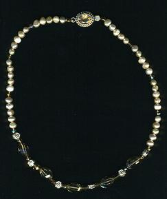 Delicate Necklace of Freshwater Pearls W/Smokey Topaz