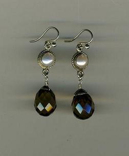 Freshwater Pearl & Smokey Topaz Earrings