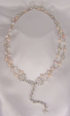 Freshwater Pearl Convertible Necklace with Silver Findings
