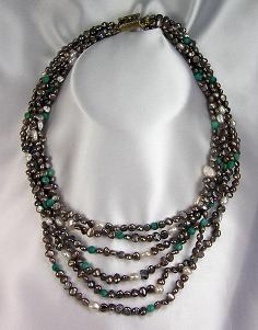 Freshwater Pearls & Turquoise Hand Made Necklace