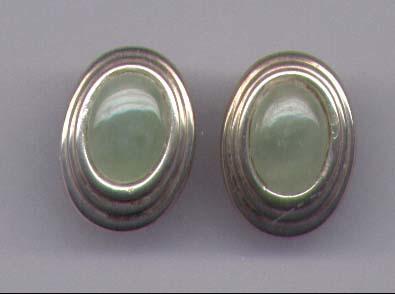 Green Jade & Sterling Silver Earrings