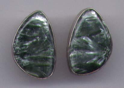 Jasper Earrings Set In Sterling Silver Bezel