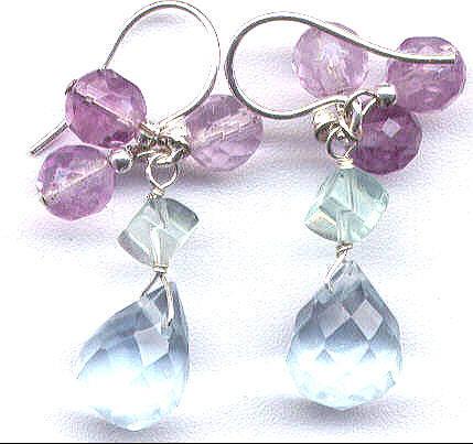 Lilac Quartz & Fluorite Cube Earrings