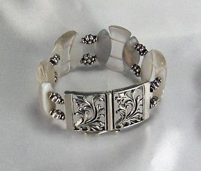 Lucite And Quartz Bracelet