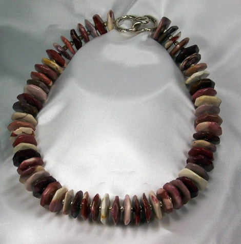 Mookite And Silver Glass Beaded Necklace