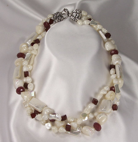 Shell Pearls, Mother Of Pearl, Red Onyx, Red Jade & Sterling Silver