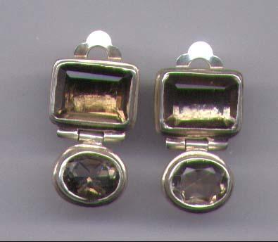 Smokey Topaz  Sterling Silver Bezel Earrings