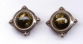 Sterling Silver  & Green Amber Gemstone Clip-On Earrings