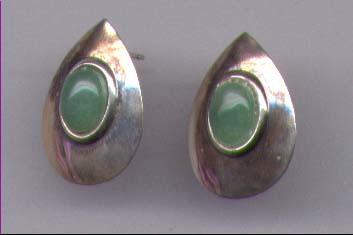Sterling Silver & Green Aventurine Gemstone Earrings