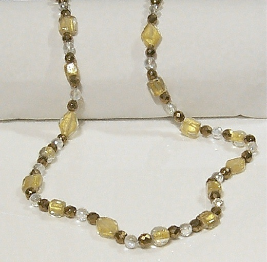 Gold crystal & swarovski crystal necklace