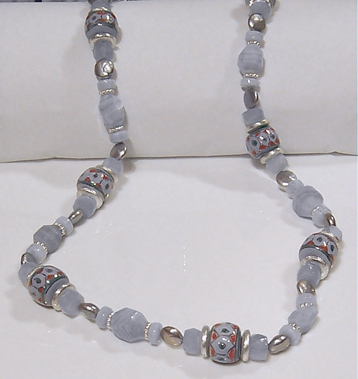 Long necklace of chalcedony, freshwater pearls, sterling silver findings, interspersed with hand painted Chinese porcelain beads