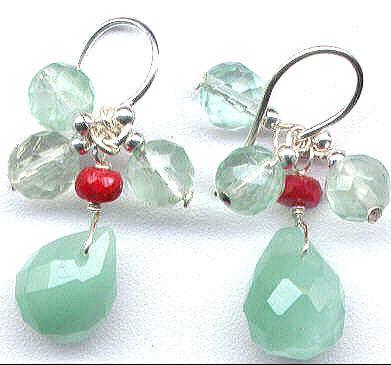 Chalcedony, Ruby, Fluorite Gemstone Earrings