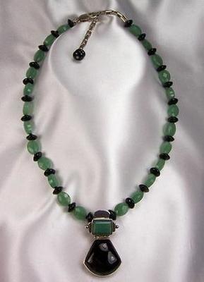 Aventurine Obsidian Silver Pendant Necklace