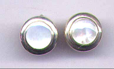 Mother Of Pearl &  Sterling Silver  Earrings