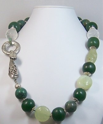 Green Jade necklace with Chinese Dragon Clasp
