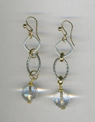 Sterling & Vermeil earrings with faceted crystal beads
