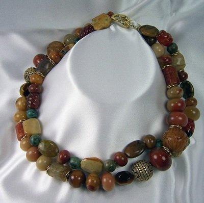Carnelian, Agate & Serpentine Necklace