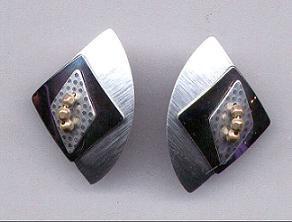 Black Metal &  Silver Earrings