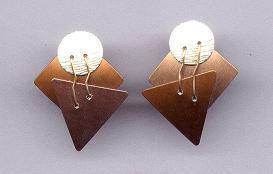 Copper & Silver Metal Geometric Earrings