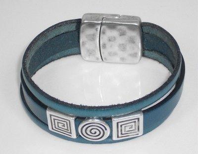 Three strand teal leather bracelet