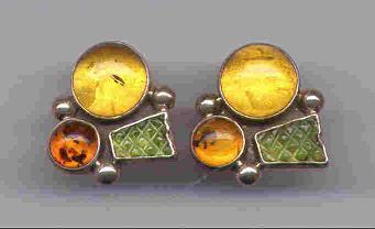 Amber & Green Garnet Earrings Set in Sterling Silver