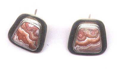 Agate (Red) & Sterling Silver Gemstone Earrings