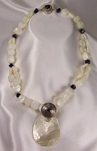 Faceted Mother Of Pearl,  Amethyst, Sterling & Removable Pendant