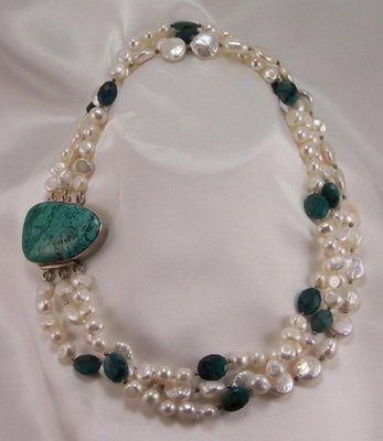 Freshwater Pearl Necklace with Bloodstone Accents
