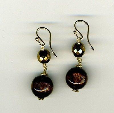 Brown Coral & Vintage Glass  Earrings