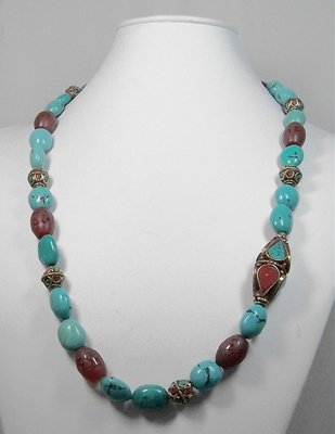 Turquoise & red agate necklace