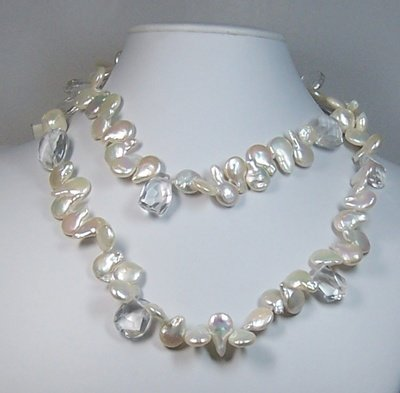 Mixed pearl & rock crystal necklace