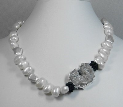 Freshwater pearls with irregular silver beads & drusy conponent