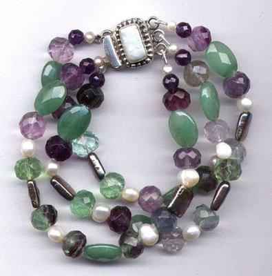 Amethyst,Aventurine & Florite Bracelet