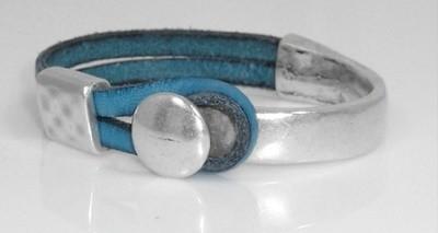 Teal leather bracelet