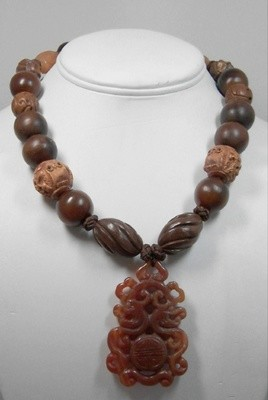 Wood &  horn necklace w/carnelian pendant