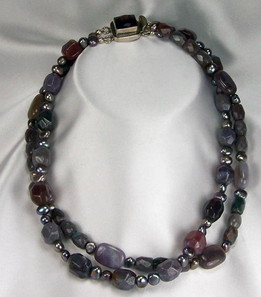 Jasper Freshwater Pearls Sterling Silver  Gem Jewelry