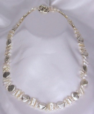 Biwa Pearls with Sterling Silver Beads