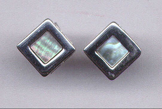 Mother Of Pearl & Sterling Silver Square Earrings