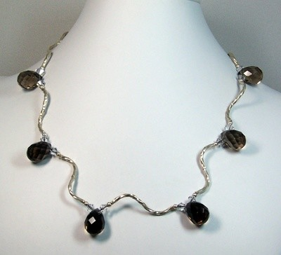 Silver & smokey topaz necklace