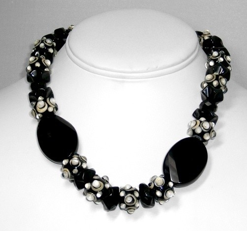 Black Onyx & lampwork necklace