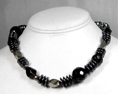Hematite,pyrite & smokey topaz necklace