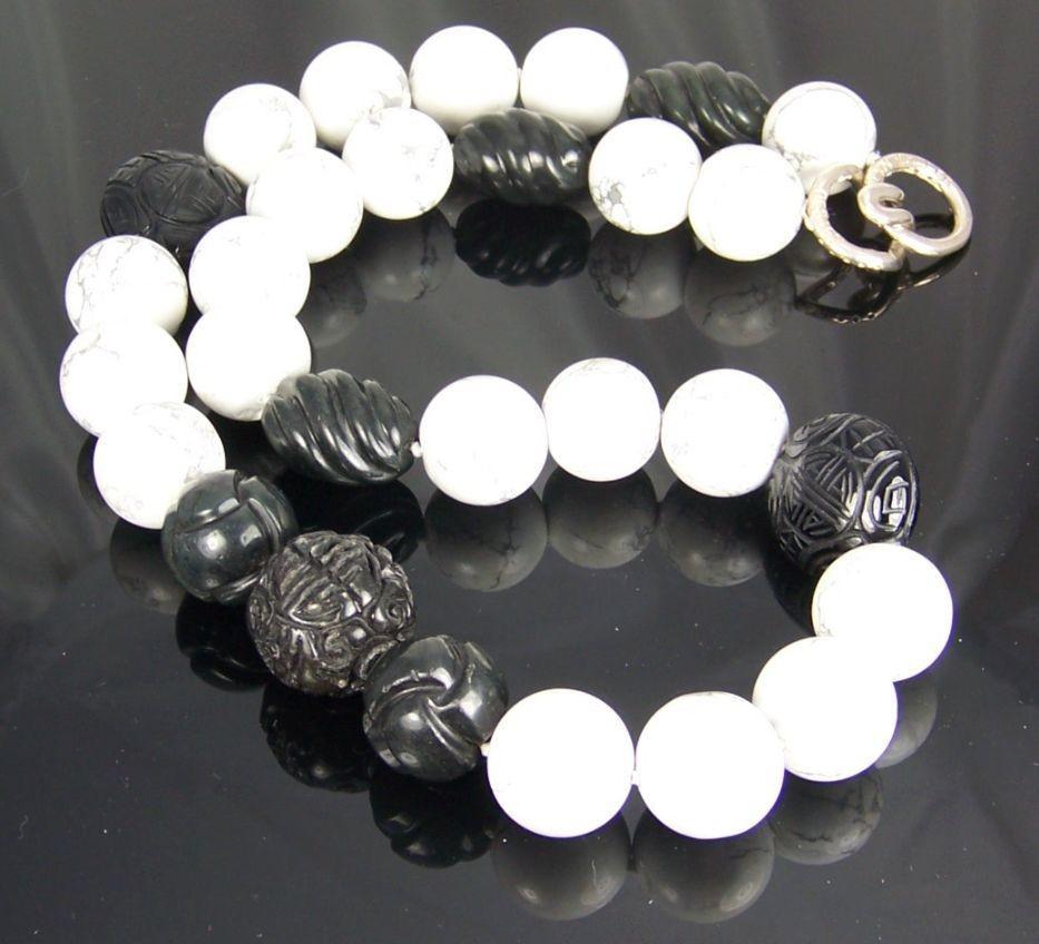 Howlite & Blackstone Handmade Beaded Necklace